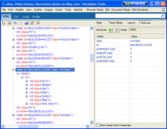 eBay in MSIE8 Developer Tools