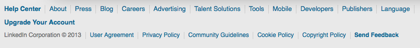 LinkedIn's footer