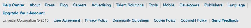 LinkedIn's footer