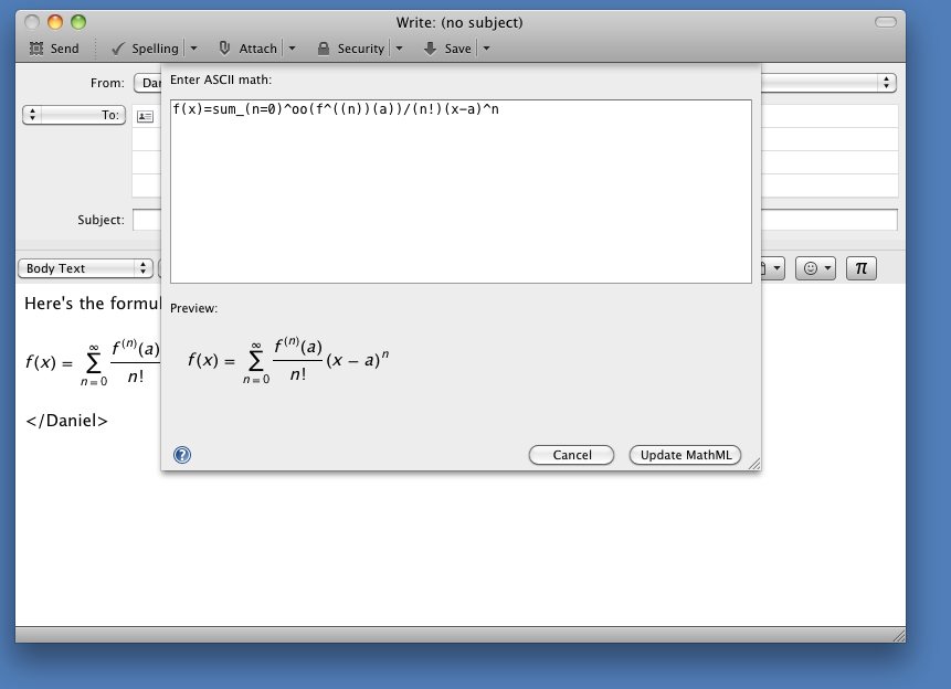 MathML editing in Thunderbird