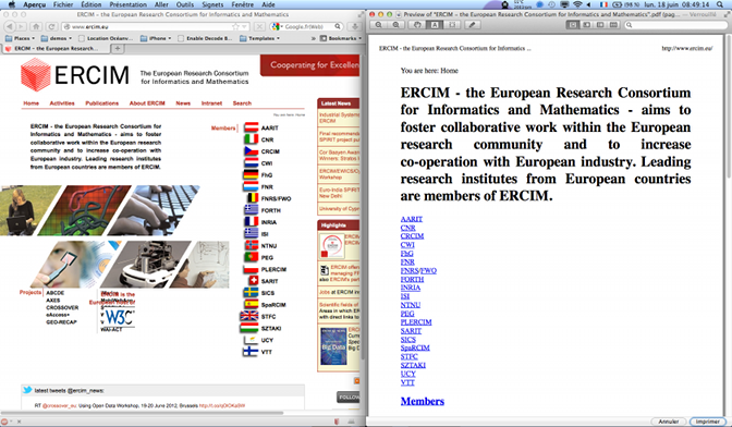 ERCIM home page screenshot and print